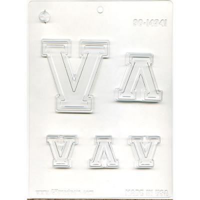 Varsity font candy mold - Letter V