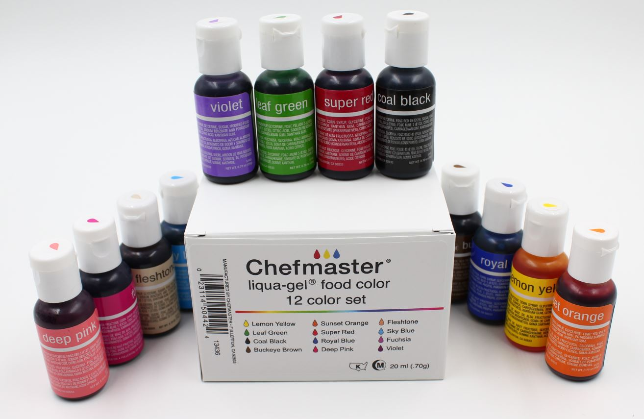 Chefmaster Liqua-Gel Paste Food Color .70oz – 12 Color Kit – Cake ...
