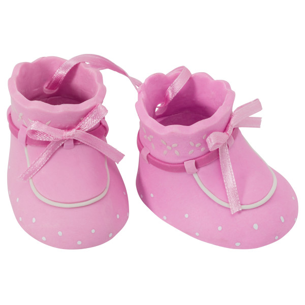 Baby Bootie Pair Topper – pink – Cake